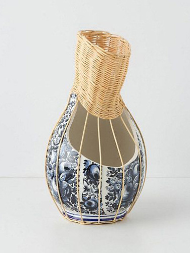 centerpiece small delft blue ceramic vase with rotan