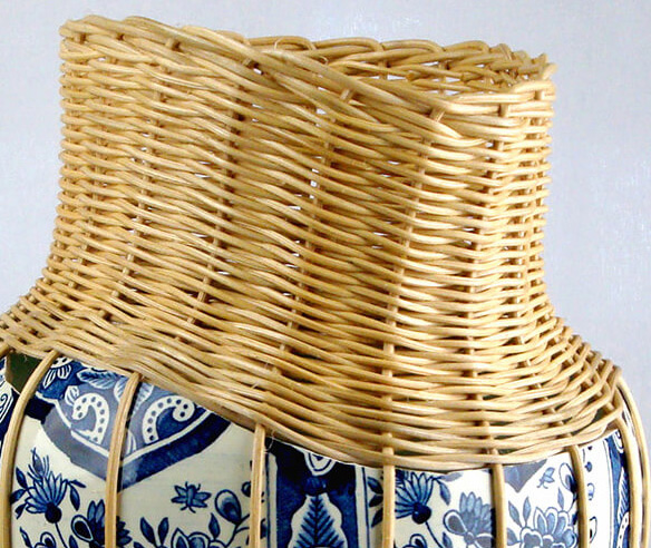 centerpiece ceramic delft blue vase with rotan