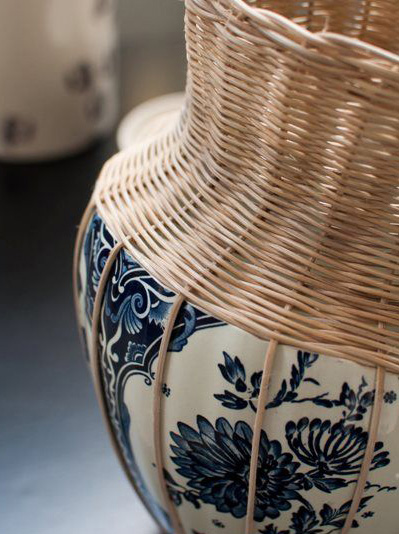 delft blue ceramic vase with rotan