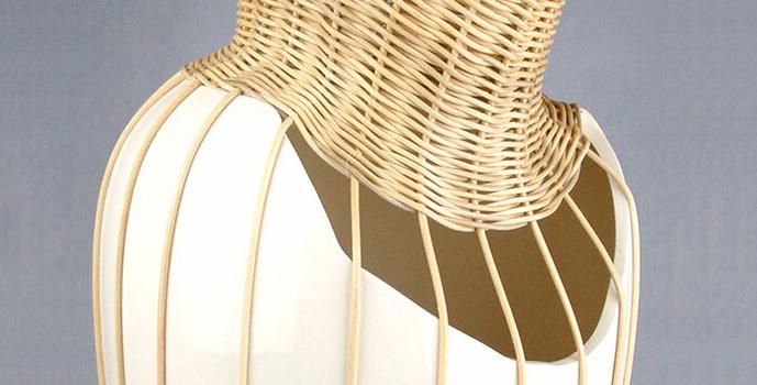 centerpiece white ceramic vase with rotan